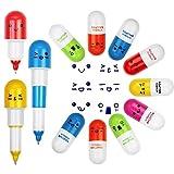 EMAGEREN 24 Pcs Pilule Stylos Stylo de Pilule de Vitamine Stylo à Bille Multicolor Vitamine Pilule Stylo a Blle Retractable Portable Mignon pour Enfant Maison Ecole Etudiants Bureau Cadeau