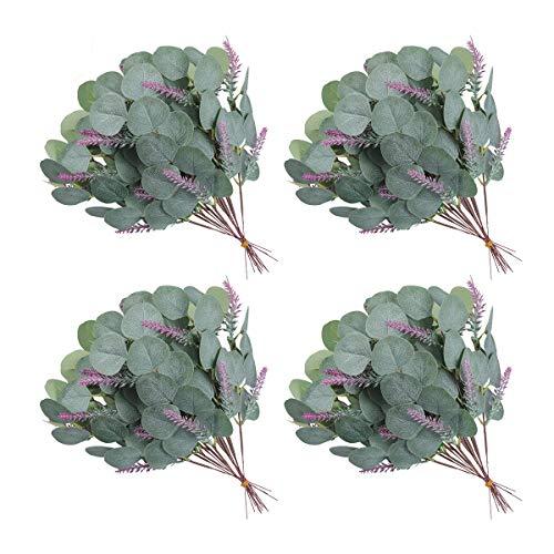 U'Artlines 24 Pcs Artificial Eucalyptus Leaves Stems Bulk Faux Greenery Stems Plant Silver Dollar Eucalyptus Branches for Floral Arrangement Home Wedding Décor (24Pcs Stems with Lavender)