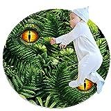 SDASDW Alfombra redonda para niños redonda alfombra circular alfombra redonda alfombra lavable a máquina, Dinasour Tropical Green