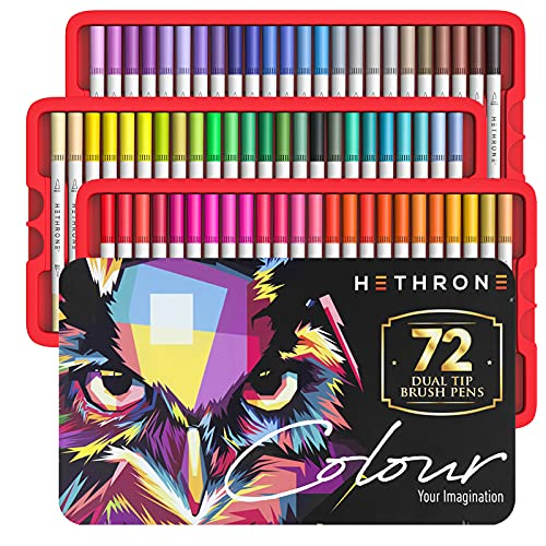 Hethrone Felt Tip Pen - Dual Tip Brush Pens 72 Color Markers for Adult Coloring