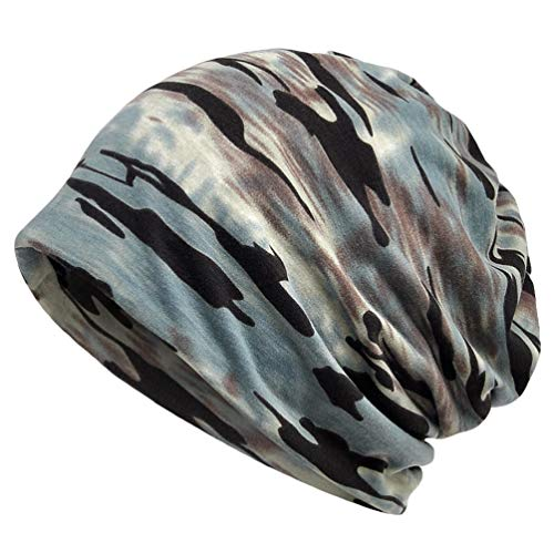LAUSONS Herren Chemo Turban Kopfbedeckungen Camo Mützen für Krebskranke - Blau