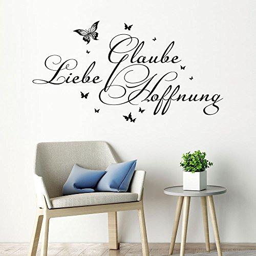 Wandtattoo Glaube Liebe Hoffnung (Farbe schwarz/Größe 60x32cm)