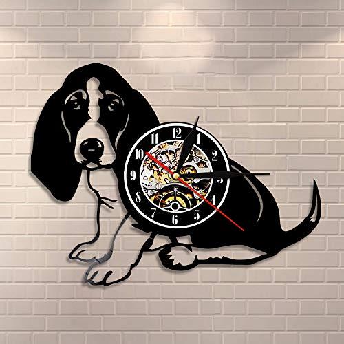 BFMBCHDJ Basset Hound Wanduhr Hunderasse Stammbaum Hund Tier Haustier Welpe Vinyl Schallplattenuhr Dekorative Vintage Uhr Doggy Clock Geschenk