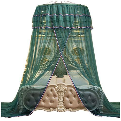 Kaiyei Moskitonetz Universal Himmelbett für Doppelbett, Einzelbett, Kinderbetten, Prinzessin Rund mit Klebehaken Schlafzimmer Palast Europäischer Stil Grün 120cm×200cm