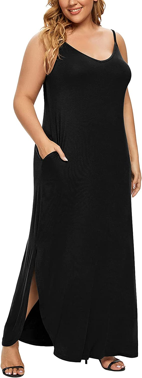 POSESHE Women's Plus Size Summer Casual Loose Dress Beach Cover Up Long Cami Maxi Dresses with Pocket