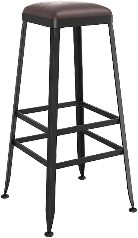 Jiu Si- European Bar Stools Solid Wood Wrought Iron Bar Stool Bar Stool Chair High Stool Bar Stool bar Chair (color   G)
