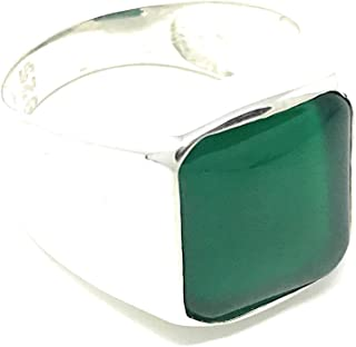 KAR 925K Stamped Solid Sterling Silver Green Agate Men's Ring P2E