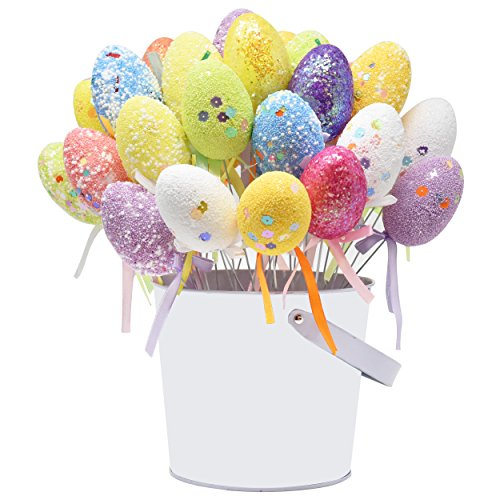 Gift Boutique 36 Pack Foam Easter Egg Picks Decorative Sticks Pastel Colors Glittered and Painted for Table Home Wreath Crafts