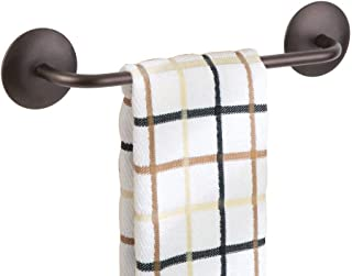 mDesign Decorative Metal Small Towel Bar - Strong Self Adhesive - Storage and Display Rack for Hand, Dish, and Tea Towels - Stick to Wall, Cabinet, Door, Mirror in Kitchen, Bathroom - Bronze