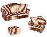 Unbekannt 3 TLG. Set: Miniatur Wohnlandschaft / Sofa Couch + Sessel + Hocker mit Kissen - für...