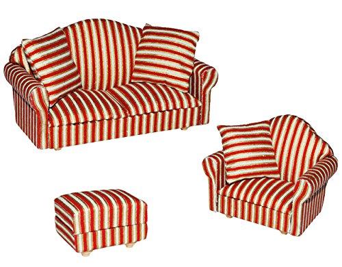 alles-meine.de GmbH 3 TLG. Set: Miniatur Wohnlandschaft / Sofa Couch + Sessel + Hocker mit Kissen - für Puppenstube Maßstab 1:12 - rot weiß golden - gestreift - Puppenhaus Puppen..