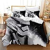 SMNVCKJ Juego de cama infantil de Star Wars con funda de edredón y funda de almohada, impresión digital 3D, microfibra, para niños y niñas (11,Super King 220 x 260 cm)