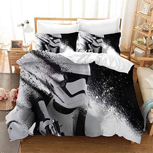 SMNVCKJ Juego de cama infantil de Star Wars con funda de edredón y funda de almohada con impresión digital 3D, microfibra, para niños y niñas (11,135 x 200 cm)