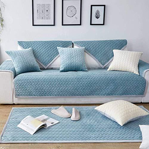 Jonist Funda de sofá de Franela Antideslizante, Protector de Muebles de cojín de Asiento Simple para Sala de Estar, Dormitorio, Azul, Verde, 7070cm