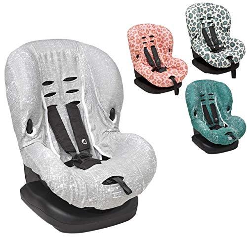 Meyco Baby - Funda universal suave y mullida, 100% algodón transpirable, sistema de cinturón de 3 y 5 puntos, tamaño 1, por ejemplo, para Maxi-Cosi Priori/SPS/XP, etc. gris Lines – Gris