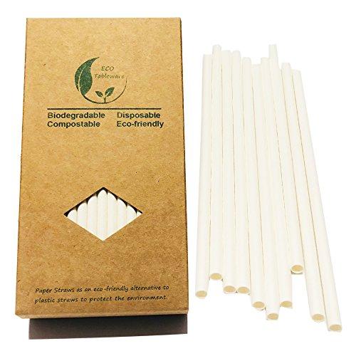 BOFA Weißes Papier Strohhalme, 20 cm lang, 100% biologisch abbaubar, geeignet für Partys, Hochzeiten und Anlässe, Partys, 100 Stück/Set