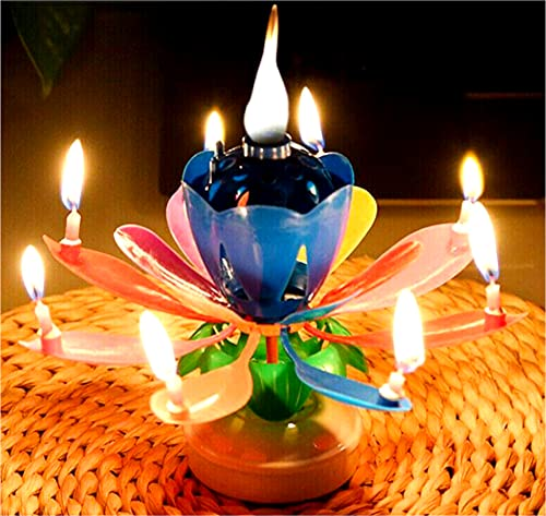 FDZ Multicolor Musically Cake Candle | One Candle Lights Them All | Opens and Spins| When All Candles are Lit | Cake Topper | Wonderous Poparin 4U Included! Happy Birthday Candle!