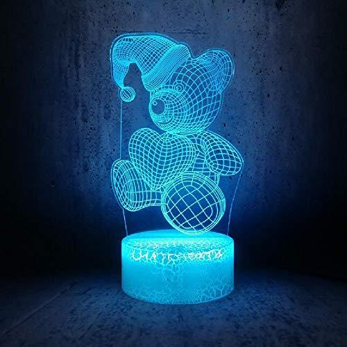 3D Led Luz de Noche Oso Llevando Un Sombrero de Navidad Holding Love Heart Illusion Moon Lamp Decoración de la Habitación de los Niños Teléfono Bluetooth Control Remoto Colores