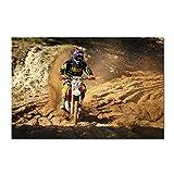 VVSUN Cartel de Juego de Motocicleta Auto Motocross Carteles de Seda Impresiones de Motos Deportes para Hombre Decoración de habitación de niño Cuadro de Lienzo 60X90cm 24x36 Pulgadas Sin Marco