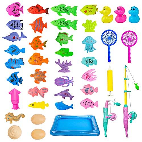 Fische Angeln Spiel 42 Pcs ,Angeln Spielzeug,Angelspiel Badewanne,Magnete Angelspiel Farbiges mit Fischteich und Faltbare Angelrute,Lernspiel Schwebendes Spielzeug Geschenk für Kinder Angelnlernen