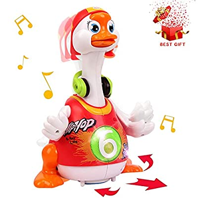 ACTRINIC Baby Musical Toys 18 plus months Early Education Funny Dancing Hip-Hop Swing Goose ,Music/Walking/Flashing Lights,Best Gift for 1 2 3 Years Old Boys Girls Toddler Toys(Random Color) by ACTRINIC