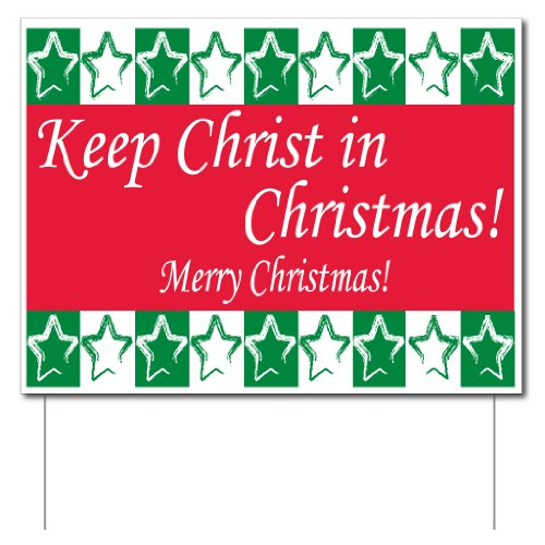 VictoryStore Yard Sign Outdoor Lawn Decorations: Keep Christ in Christmas Yard Sign (Green and Red) Set of 3 w/ 6 EZ Stakes