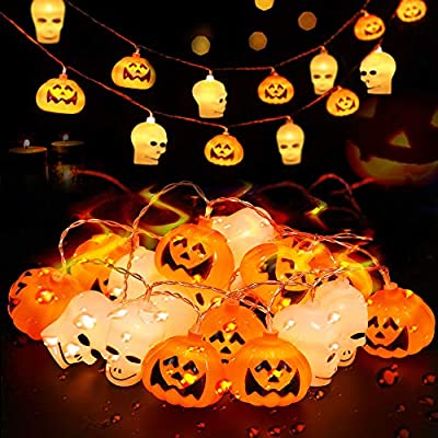 CAVWVTYU Halloween Lights, Pumpkin Lights with 20 Battery Operated LEDs, Halloween Decorations with Steady & Blink Modes, Indoor/Outdoor String Lights for Patio, Mantle, Yard