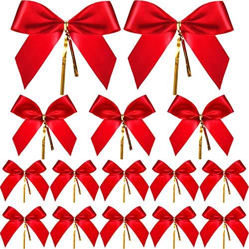 Sumind 36 Stück Weihnachten Bow Roter Band Bogen Geschenk Verpackung Bögen für Weihnachten Dekoration in 3 Verschiedenen Größen