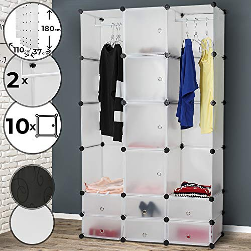 MIADOMODO Kleiderschrank - aus Kunststoff, 110/180/37 cm, 2 offene und 10 geschlossene Fächer, 2 Kleiderstangen, Farbwahl - DIY Modular Kubus Schrank, Garderobenschrank, Steckregal, Regalsystem