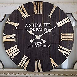 Large Wall Clock, 24-Inch Vintage Paris Decorative Black Wooden Roman Wall Clock, Silent Non-Ticking Farmhouse Hanging Clock, Great for Living Room, Dining Room, Bedroom, Kitchen