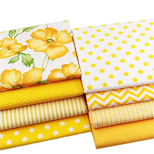 8 piezas amarillo serie grasa cuarto superior algodón arte tela paquete cuadrados patchwork floral algodón material 46 cm x 56 cm