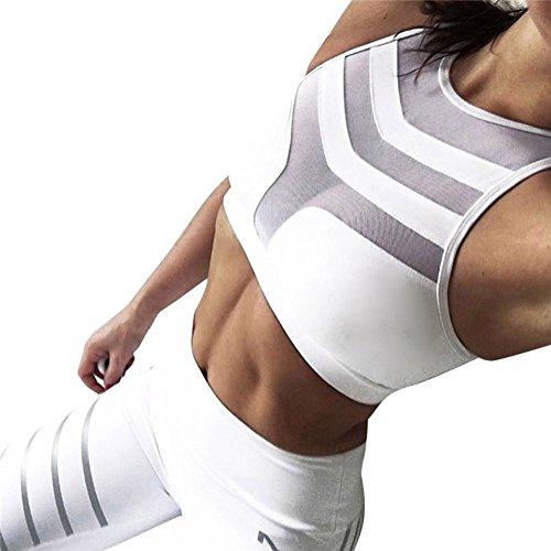 Sujetadores Deportivos Fitness Mujer Push up Sport BH con Aplicaciones de Malla y Patch (Blanco, Medium)