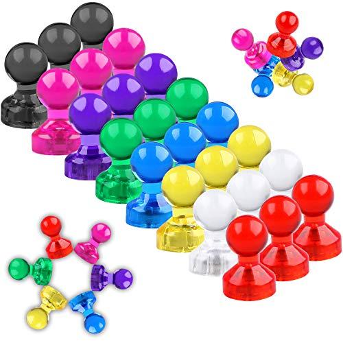 Camelize Whiteboard Magnete,24 Stück farbige und transparente Magnete,Push Pins Neodym Magnete bunt für Magnettafel, Whiteboard, Pinnwand- mit Aufbewahrungs Box