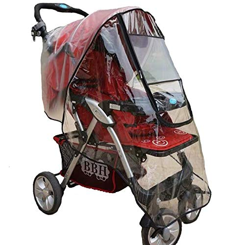 Pushchair Rain Cover, Universal Baby Stroller Buggy Raincover Weather Shield for Protection Against Rain Snow Wind Sleet Dust Travel Outdoor Clear EVA Transparent