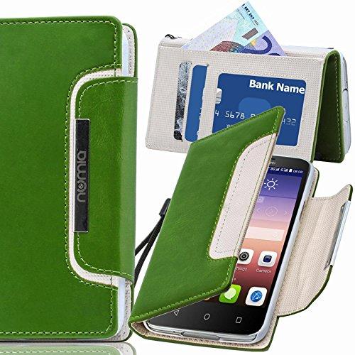 numia Huawei Ascend G730 Hülle, Handyhülle Handy Schutzhülle [Book-Style Handytasche mit Standfunktion & Kartenfach] Pu Leder Tasche für Huawei Ascend G730 Hülle Cover [Grün-Weiss]