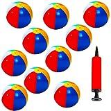 10er Set Aufblasbarer Wasserball, Badeball Schwimmball mit Luft-Pumpe Strandball, Bunt Farben - phthalatfrei & Spielzeug-Ball für Sommer im Freien und Schwimmen Party Supplies –30cm/12 ''