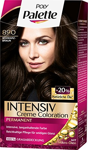 Poly Palette Intensiv Creme Coloration, 890 Schwarzbraun Stufe 3, 3er Pack (3 x 115 ml)