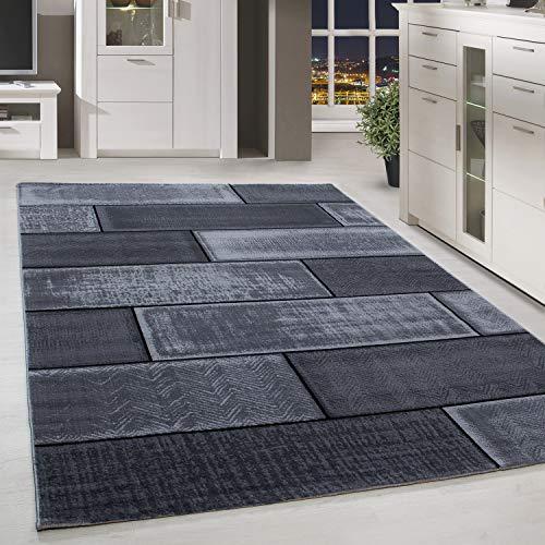 HomebyHome - Tappeto a pelo corto dal design moderno, nero e grigio melange, ideale per il soggiorno, 100% polipropilene, Nero , 80 x 150 cm