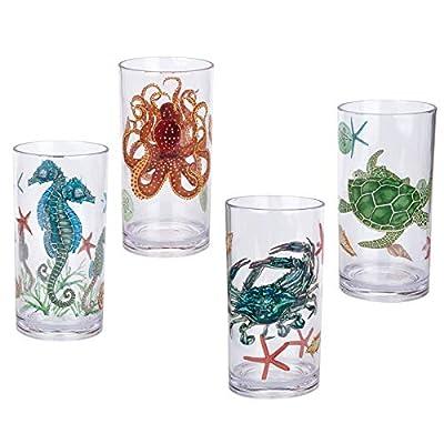 Sea Ocean Life 20-ounce Plastic Tumbler Drinking Glasses Mixed Drinkware Sets, set of 4