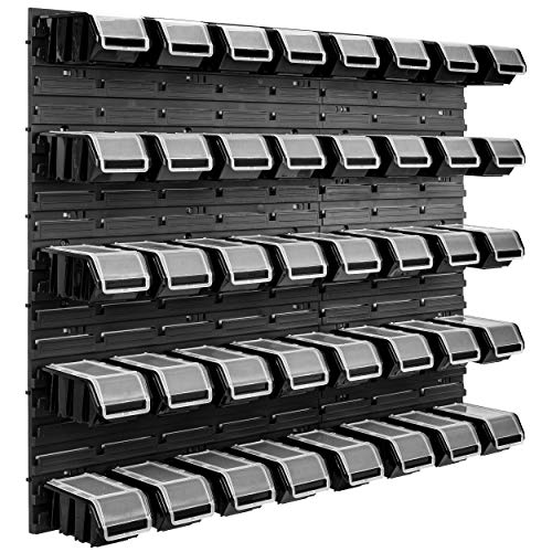 40 Stapelboxen schwarz Wandregal Deckel Kunststoff Werkstattregal 96,5 x 78 cm Werkzeug Werkbank (40 Boxen Schwarz)