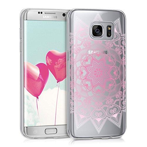 kwmobile Carcasa Compatible con Samsung Galaxy S7 Edge - Funda de TPU y hindú en Rosa Claro/Blanco/Transparente