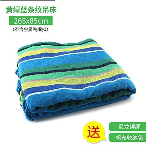 LANKOULI Hängematte Mehrpersonen 210 x 150 cm Belastbarkeit bis 150 kg wetterfest UV-beständig Ultraleichte Camping Atmungsaktiv Schnelltrocknendes (Gelbgrüne Blaue Streifen)