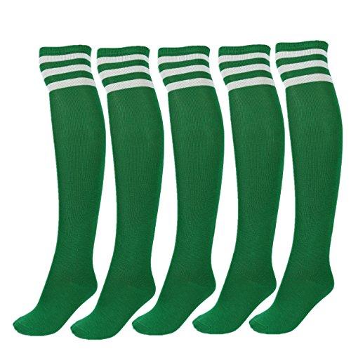 CHIC DIARY Damen Mädchen Kinder Strümpfe Overknee Kniestrümpfe gestreifte Sportsocken College Socks Baumwollstrümpfe, Weiß Streifen auf Grün -5 Paare/Set, Einheitsgröße