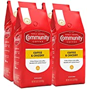 Community Coffee and Chicory Medium Dark Roast Premium Ground 32 Oz Bag (4 Pack), Full Body Rich Flavorful Taste, 100% Select Arabica Beans