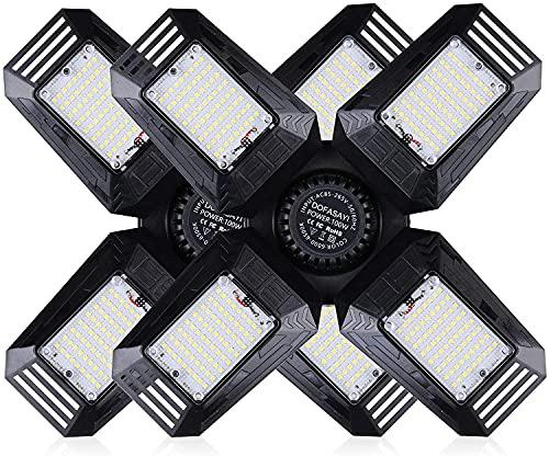 LED Garage Lights 2 Pack,100W Deformable Garage Light - 10000LM Garage Ceiling Light,LED Shop Light with Adjustable Multi-Position Panels,Garage Light for Garage,Workshop,Basement,E26/E27 Base