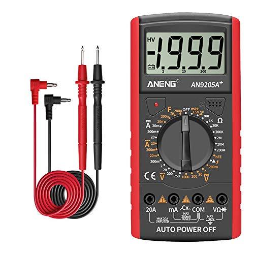 /G DT9205A + Digitalmultimeter 3 1/2 LCD-Anzeige 1999 Zählung Manueller Bereich Universalmesser AC DC-Widerstand Kapazität Transistortester Multifunktionsamperemeter - Rot