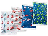 Ice Pack for Lunch Boxes - 4 Reusable Packs - Boys Prints - Keeps Food Cold – Cool Print Bag Designs - Great for Kids or Adults Lunchbox and Cooler…
