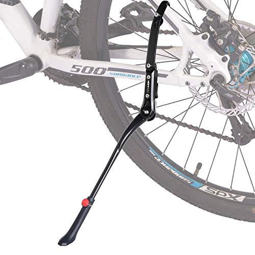 Meowtutu Universal Fahrrad Ständer, Seitenständer Höhenverstellbarer Aluminiumlegierung 24-28 Zoll Fahrradständer mit Rutschfester Gummiständer für MTB, Rennrad, Klapprad-Schwarz