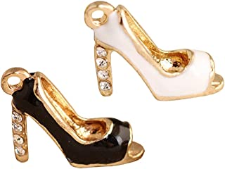 M251-E 8pcs New Cute Little Black & White High Heel Shoe Bracelet Charms Pendants Wholesale