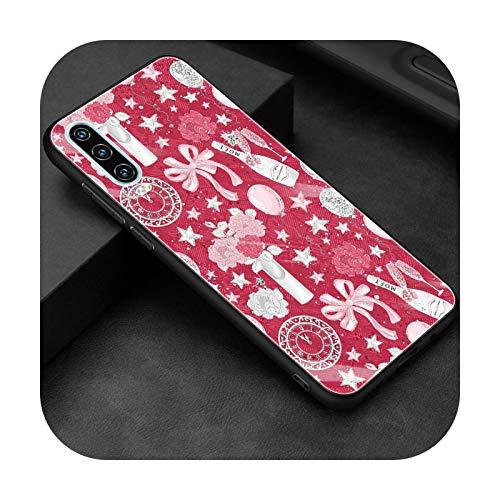 Funda de vidrio templado para Huawei P30 P40 P20 P10 Lite Pro Plus P Smart Z 2019 2020 2021 Coque Cover Cute Pink Girl Love Presente-T07-para P40 Lite 5G